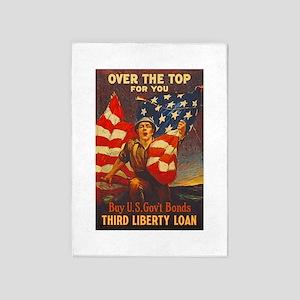 US War Bonds Top Third Liberty Loan 5'x7'Area Rug