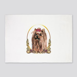 yorkshire terrier, yorkie holiday g 5'x7'Area Rug