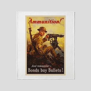 US War Bonds Ammunition WWI Propagan Throw Blanket