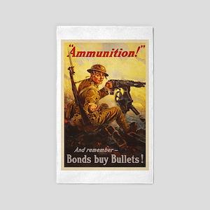 US War Bonds Ammunition WWI Propaganda Area Rug