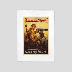US War Bonds Ammunition WWI Propaga 5'x7'Area Rug