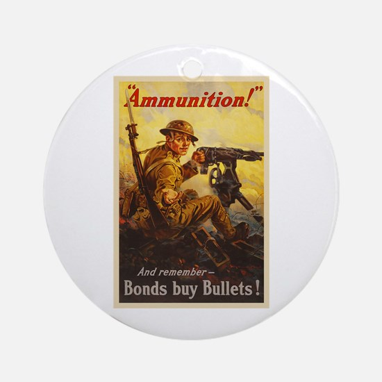 US War Bonds Ammunition WWI Propaga Round Ornament