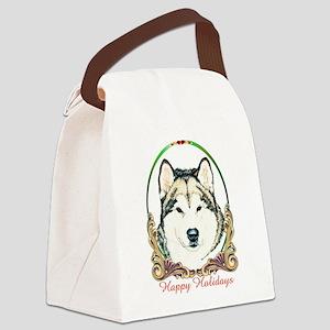Alaskan Malamute Happy Holidays Canvas Lunch Bag