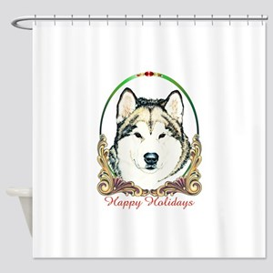 Alaskan Malamute Happy Holidays Shower Curtain