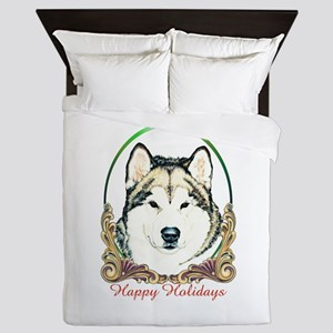 Alaskan Malamute Happy Holidays Queen Duvet