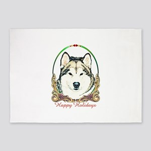 Alaskan Malamute Happy Holidays 5'x7'Area Rug