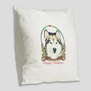Alaskan Malamute Happy Holiday Burlap Throw Pillow