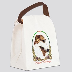 Borzoi Happy Holidays Canvas Lunch Bag