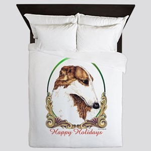Borzoi Happy Holidays Queen Duvet