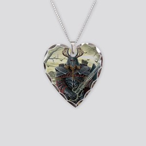 viking warrior Necklace Heart Charm