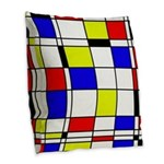 Mondrian-3a Burlap Throw Pillow