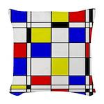 Mondrian-3a Woven Throw Pillow