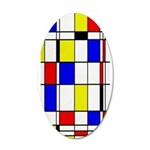 Mondrian-3a 35x21 Oval Wall Decal