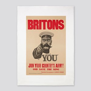 Britons Lord Kitchener Wants You WW 5'x7'Area Rug