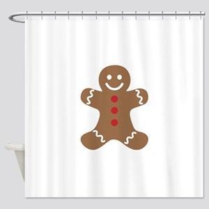 Christmas Gingerbread Man Shower Curtain