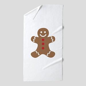 Christmas Gingerbread Man Beach Towel