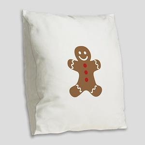 Christmas Gingerbread Man Burlap Throw Pillow