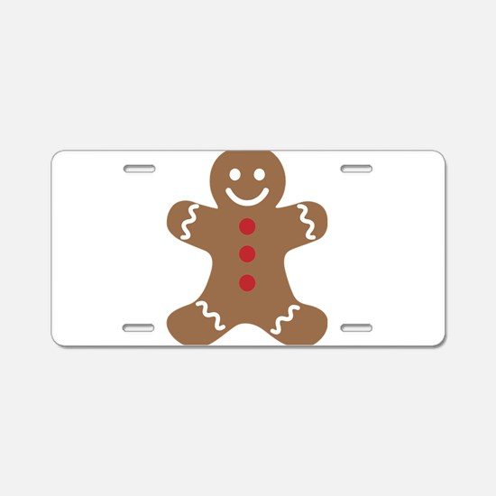 Christmas Gingerbread Man Aluminum License Plate