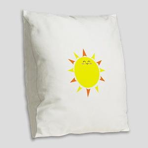 Sunshine Morning Happy Kawaii Burlap Throw Pillow