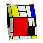 Mondrian-4a Burlap Throw Pillow