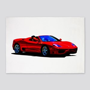 Red Ferrari - Exotic Car 5'x7'Area Rug