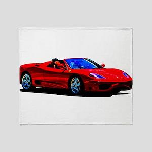Red Ferrari - Exotic Car Throw Blanket
