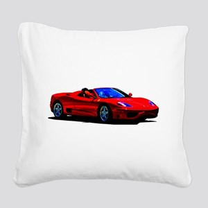 Red Ferrari - Exotic Car Square Canvas Pillow