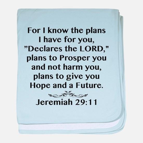 Jeremiah 29:11 Black Print baby blanket