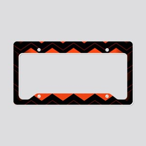 Orange and Black Chevron License Plate Holder