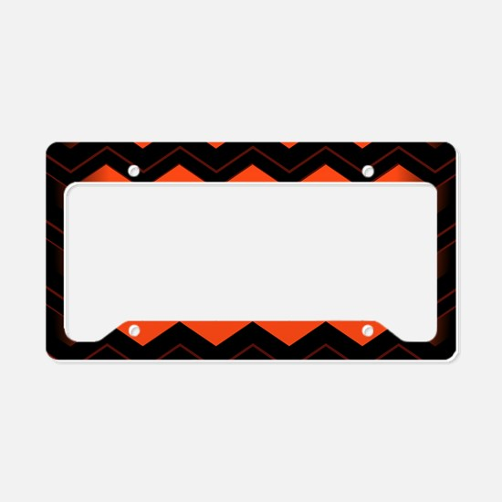 Orange and Black Chevron License Plate Holder