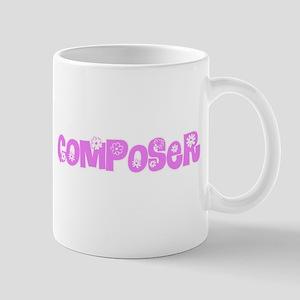 Composer Pink Flower Design Mugs