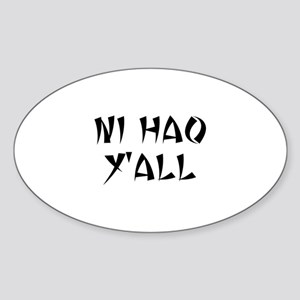 NI HAO Y'ALL Oval Sticker