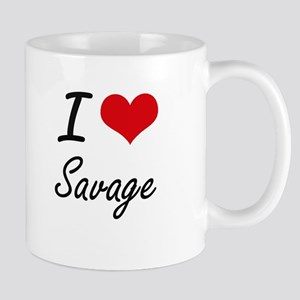 I Love Savage artistic design Mugs