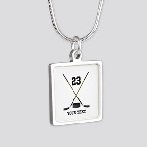 Ice Hockey Personalized Silver Square Necklace
