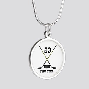 Ice Hockey Personalized Silver Round Necklace
