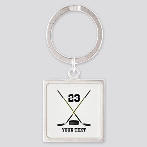 Ice Hockey Personalized Square Keychain