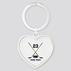 Ice Hockey Personalized Heart Keychain