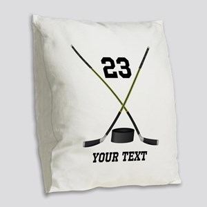 Ice Hockey Personalized Burlap Throw Pillow