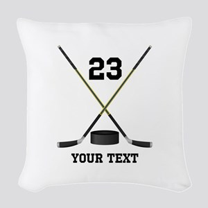 Ice Hockey Personalized Woven Throw Pillow