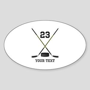 Ice Hockey Personalized Sticker (Oval)