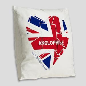 Union Jack Love Burlap Throw Pillow