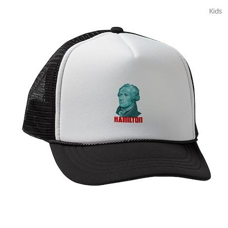 Alexander Hamilton in Green Kids Trucker hat