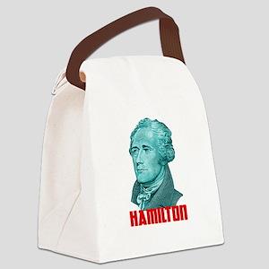 Alexander Hamilton in Green Canvas Lunch Bag