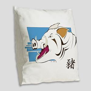 The Boar Burlap Throw Pillow