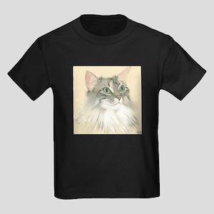 Norwegian Forest Cat Painting Kids Dark T-Shirt