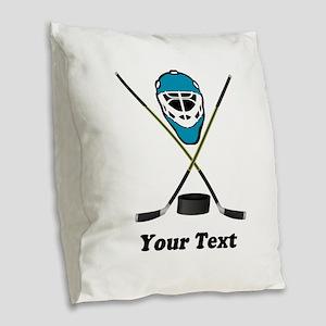 Hockey Goalie Personalized Burlap Throw Pillow