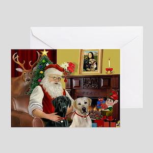 Santas 2 Labs Y B Greeting Cards Pk Of 20