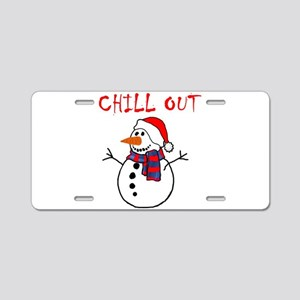 chill out snowman Aluminum License Plate