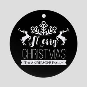 Elegant Merry Christmas Personalize Round Ornament