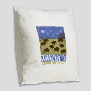 Yellowstone Bison Scene Burlap Throw Pillow